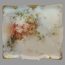 "Limoges 13 ¼"" H.P. Chrysanthemums Tray"