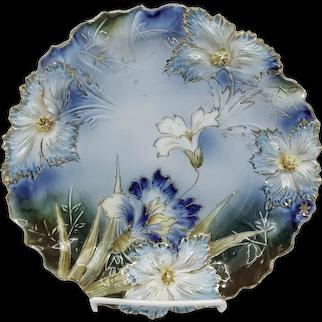 "R.S. Prussia 8½"" Carnation Cobalt Cake Plate"