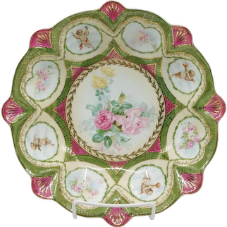 """R.S. Prussia 10¼"""" Cherubs Bowl with Roses- Green & Red Trim"""