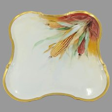 """Limoges H.P. """"corn cobs on russet ground"""" Tray- signed """"F.R. Cross"""""""