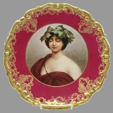 """Limoges 12.25"""" H.P. """"Daphne"""" Portrait Charger with Red- signed """"A. Soustre"""""""