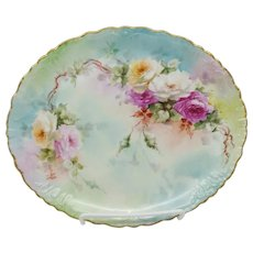 """Limoges H.P. Tray with Red, Pink & White Roses- signed """"TMJ"""" (Thomas Jelinek)"""