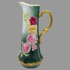 """T&V Limoges 14.75"""" H.P. Tankard with Red, Pink & Yellow Roses- artist signed"""