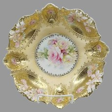 """R.S. Prussia 10.75"""" Pink and Yellow Roses Bowl with Gold Domes"""
