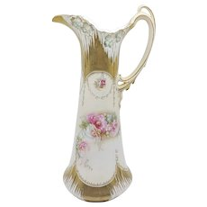 """R.S. Prussia 14"""" Icicle Mold Tapestry Finish Tankard with Gold & Poppies"""