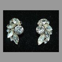 Vintage Signed Garne Clear Rhinestone Earrings