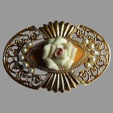 Vintage Gold Tone Brooch with Porcelain Rose