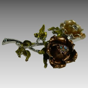Double Rose Brooch