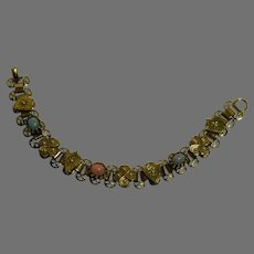 Victorian Revival Opal and Faux Pearl Panel Bracelet