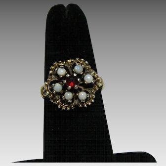 Gold Vermeil Garnet and Opal Ring