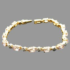 Thailand Gold Tone Sterling Silver Amethyst Tennis Bracelet