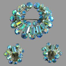 Blue Aurora Borealis Brooch and Matching Earrings