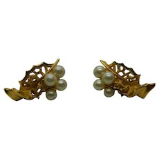 Crown Trifari Gold Tone Faux Pearl Earrings