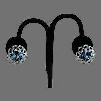 Lisner Blue Rhinestone Earrings