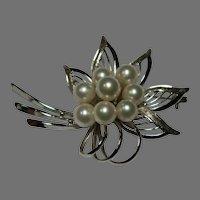 Vintage Faux Pearl Sterling Floral Brooch
