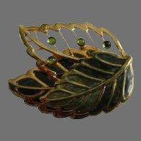 Signed KC© Gold Tone Enamel Leaf Brooch
