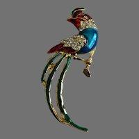 Figural Enamel and Rhinestone Exotic Bird Brooch