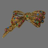 Vintage Faux Marcasite and Rhinestone Bow Brooch