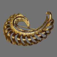 Vintage Brushed Gold Tone Swirl Brooch by Monet