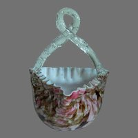 Vintage Hand Blown Art Glass Basket