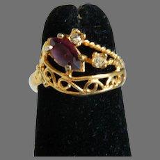 Vintage 18K HGE Rhinestone Ring