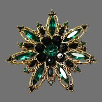 Gorgeous Emerald Green Rhinestone Brooch