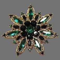 Gorgeous Emerald Green Rhinestone Brooch