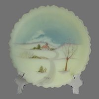 Fenton Art Glass 1980 Winter Church Scene Collector Plate