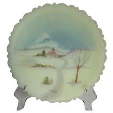 Fenton Art Glass 1980 Winter Church Scene Collector Plate