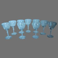 Set of 9 Beautifully Clear Etched Wine Glasses