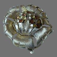 Coro Rhinestone Floral Brooch