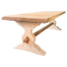 Vintage Washed French Oak Trestle Table