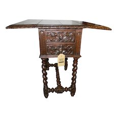 Antique Drop Leaf Accent Table with Barley Twist Legs