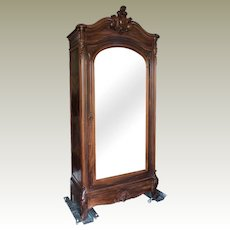 Louis XV Style Rosewood Armoire Birdseye Maple Paris France C. 1900