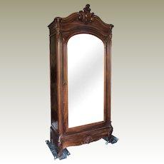 Louis XV Style Rosewood Armoire Birdseye Maple Paris France C. 1900