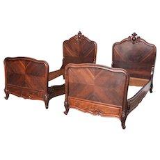 2 Louis XV Rosewood single beds Paris France C. 1900