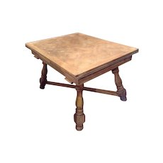 French Provincial Dining  Parquet Table Limed France C. 1920
