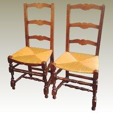 2  Ladderback Chairs  Rush Seats France C 1910