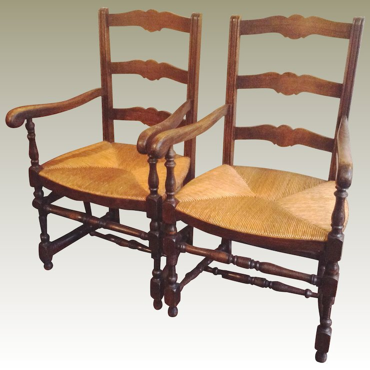 Pair Antique French Ladderback Arm Chairs with Rush Seats - Pair Antique French Ladderback Arm Chairs With Rush Seats : Maison