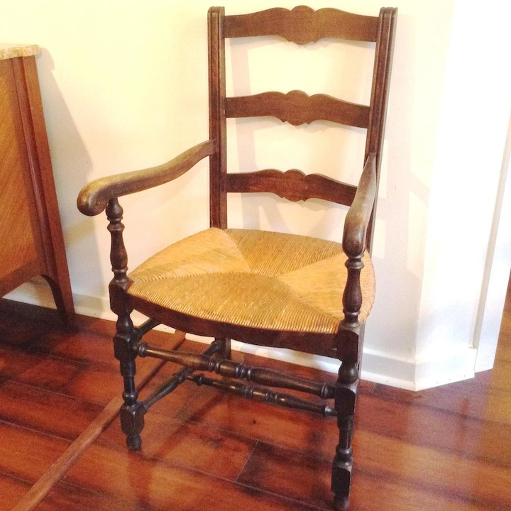 Pair Antique French Ladderback Arm Chairs With Rush Seats