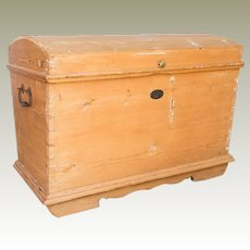 Pine Blanket Toy Chest Iron Hardware Belgium C. 1890