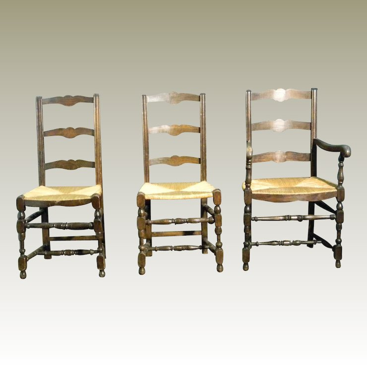 4 French Antique Ladder back Dining Chairs with Rush Seats - 4 French Antique Ladder Back Dining Chairs With Rush Seats