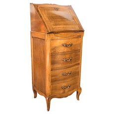Walnut Secretary  France C, 1850  Drop Front 4 Drawers