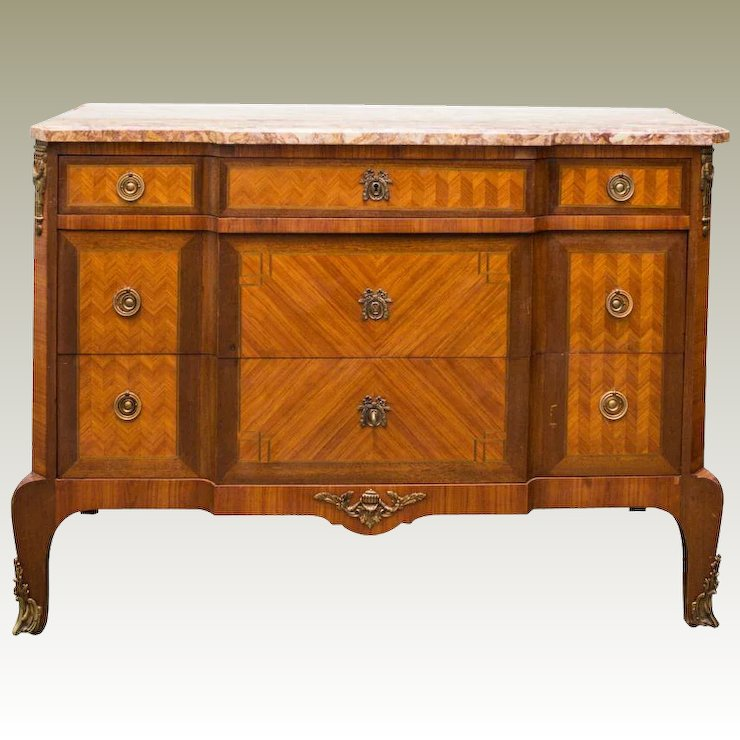 Antique Louis XV Style Dresser 3 Drawers Marquetry Marble Top France C. 1890 - Antique Louis XV Style Dresser 3 Drawers Marquetry Marble Top France