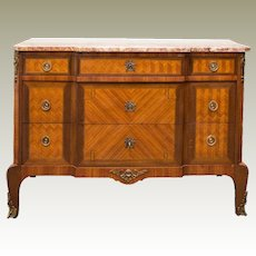 Antique Louis XV Style Dresser 3 Drawers Marquetry Marble Top France C. 1890