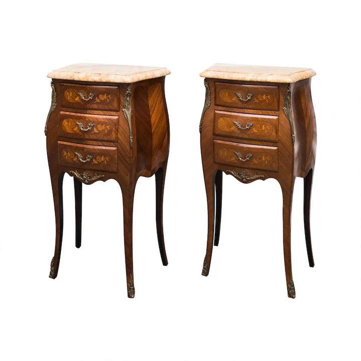 Louis XV style Bombe Commodes or Night Tables Maison Dcor