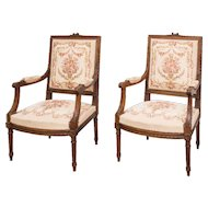 Pair of 19th century  Louis XVI style Fauteuils from  France