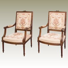 Tapestry Chairs pair 19th century  Louis XVI from  France