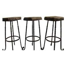 Industrial Bar Stools Iron Legs Reclaimed Wood Belgium