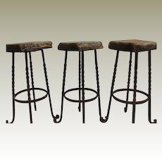 Industrial Bar Stools Iron Legs Reclaimed Wood Belgium